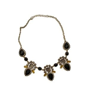 Black Jeweled Statement Necklace